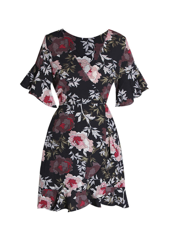 Black Floral Wrap Front Frill Detail Dress