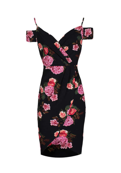 Black Floral Wrap Over V-Neck Dress