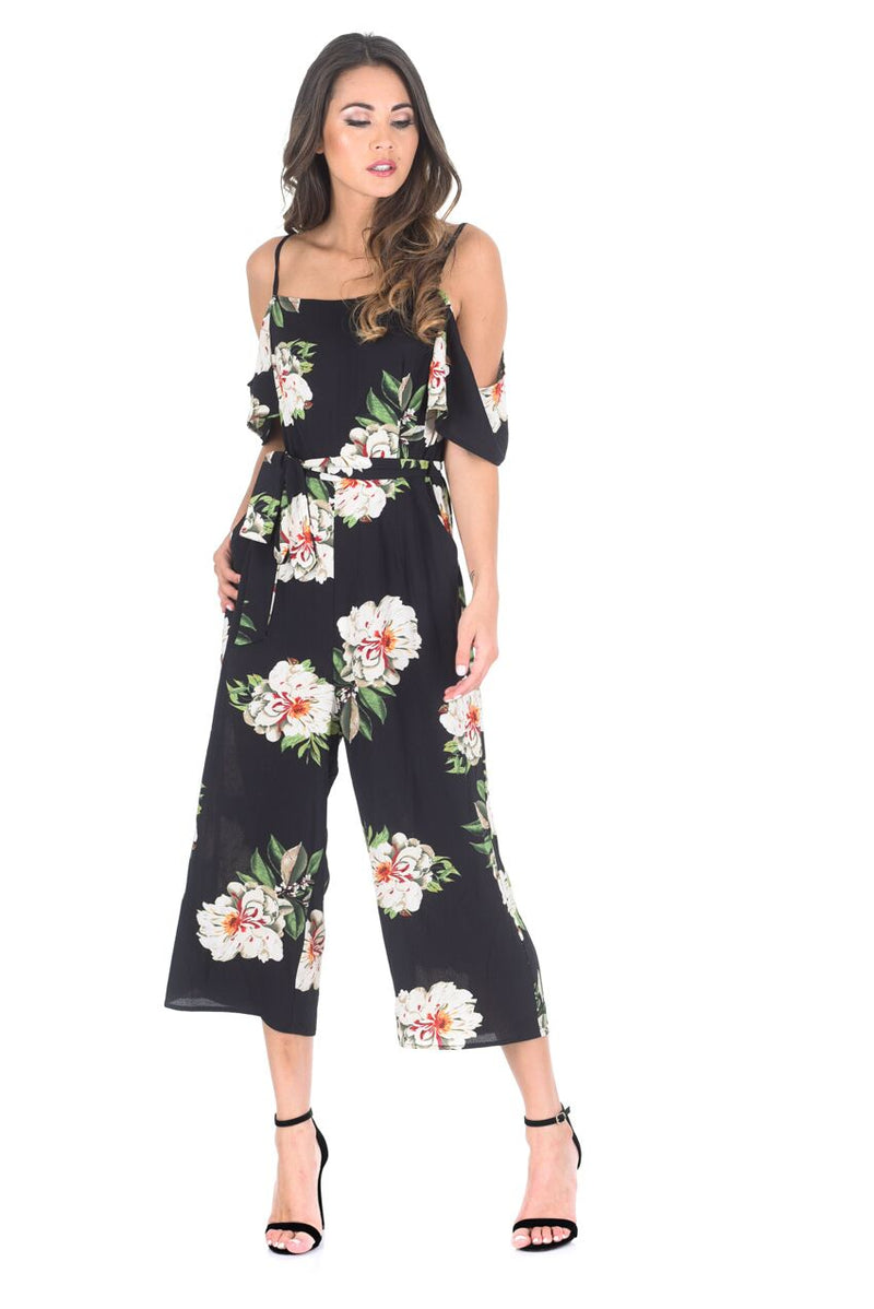 Black Floral Cold Shoulder Culotte Jumpsuit
