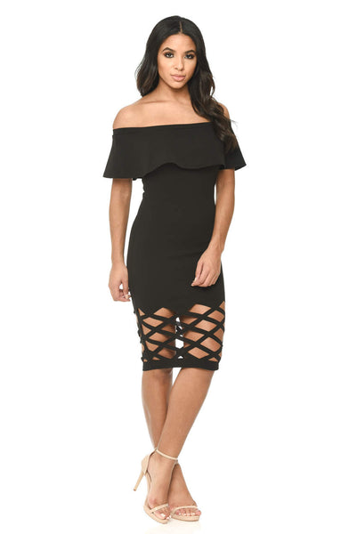 Black Frill Bardot Bodycon With Cut Out Detail