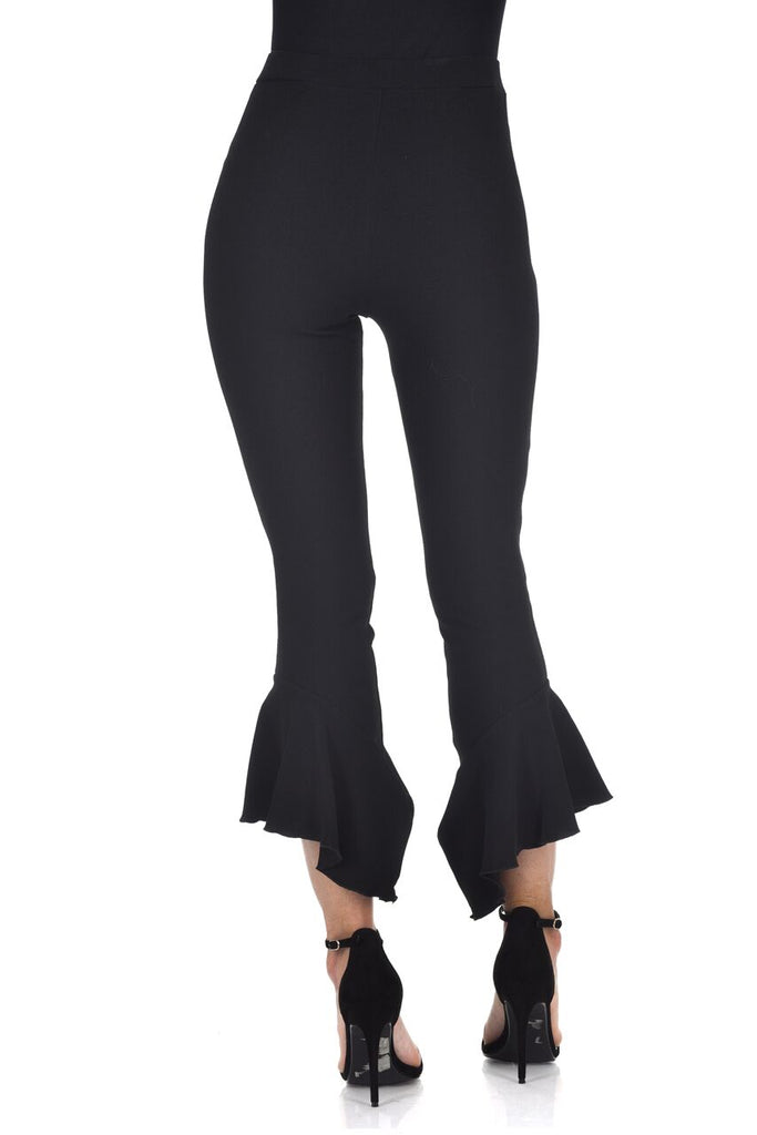 Black Frill Bottom Trousers