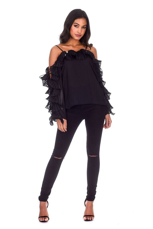 Black Frill Detail Off The Shoulder Top