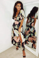 Black Gathered Waist Floral Split Maxi Dress