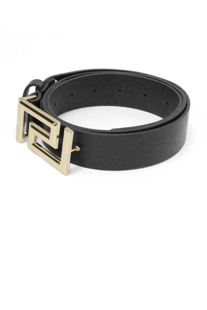Black Geo Leather Belt