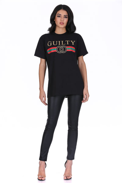 Black Glitter Guilty Slogan Top