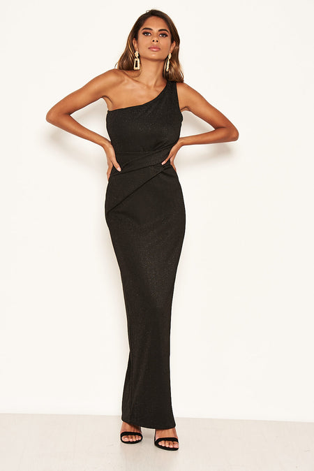 Black Wrap V Neck Slit Maxi Dress