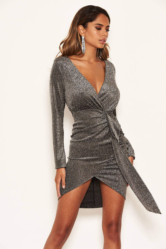 Black Glitter Wrap Over Dress