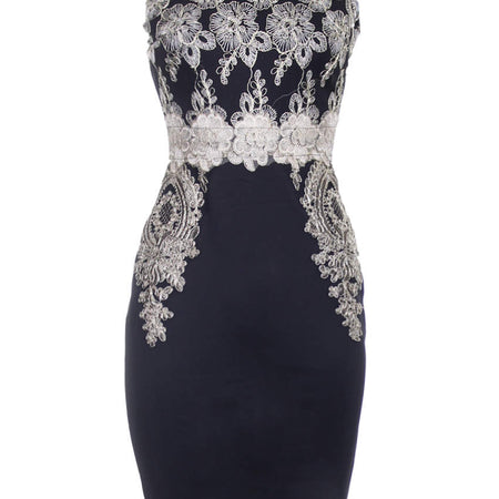 Black Gold Lace Midi Dress