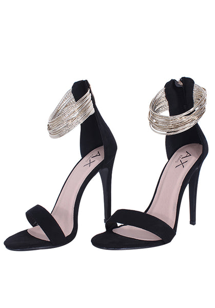 Detail Stilletto Ring Gold Heels Black ONkX8nw0P