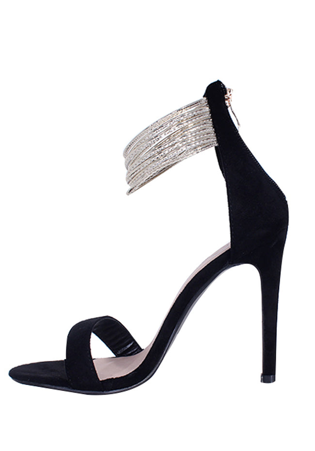 Black Gold Ring Detail Stilletto Heels