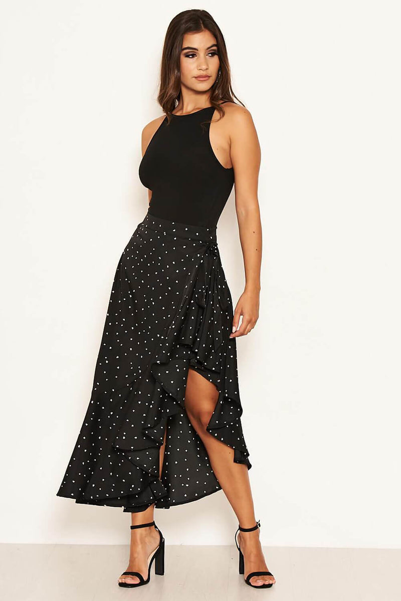 Black Heart Printed Midi Skirt