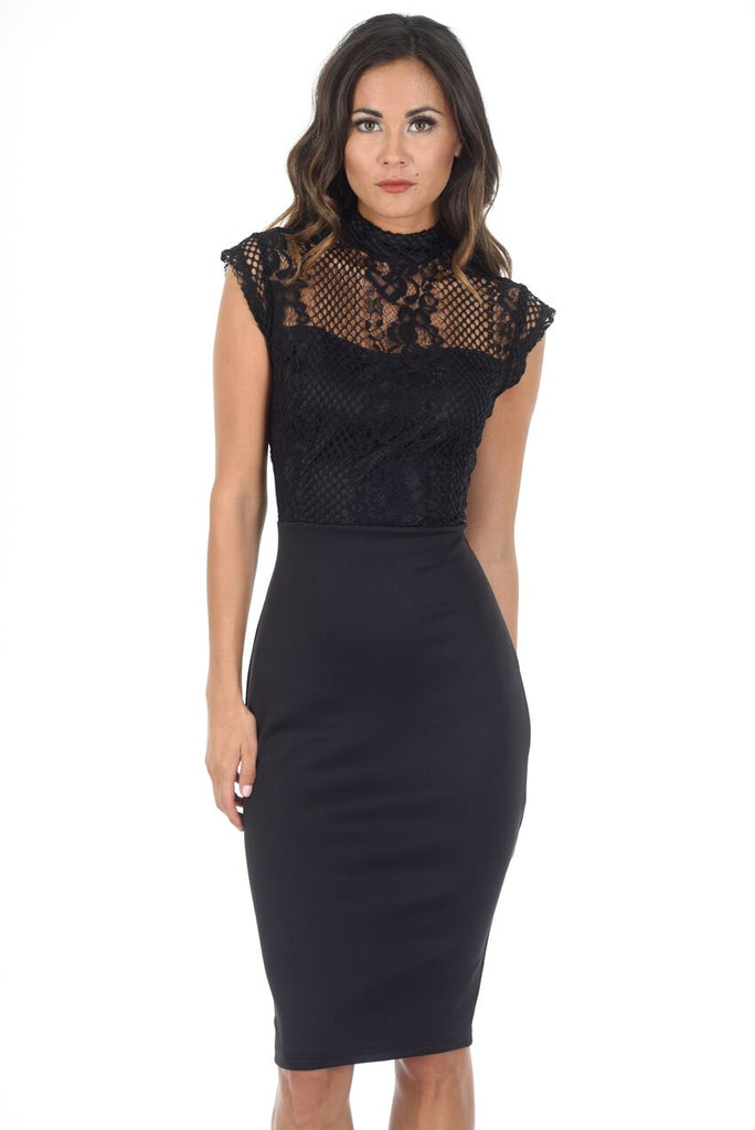 Black High Neck Lace Detail Midi Dress