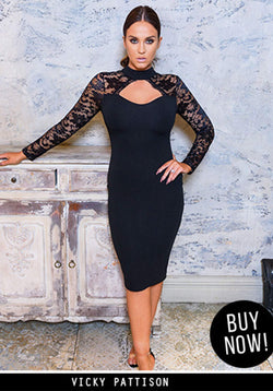 Black High Neck Lace Sleeve Midi Dress