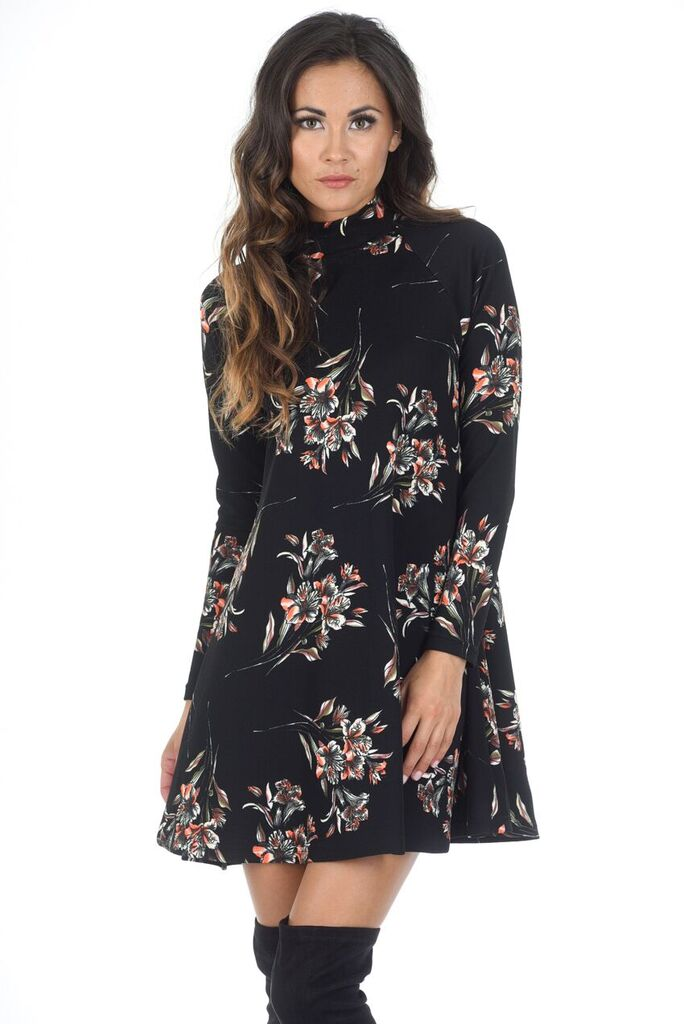 Black High Neck Long Sleeve Floral Dress