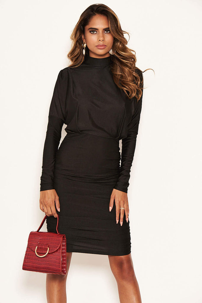 Black High Neck Long Sleeve Ruched Dress
