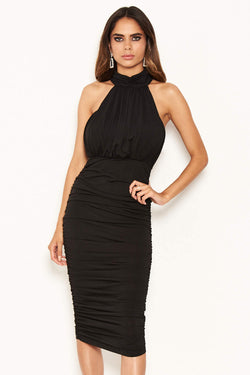 Black High Neck Ruched Bodycon Midi Dress