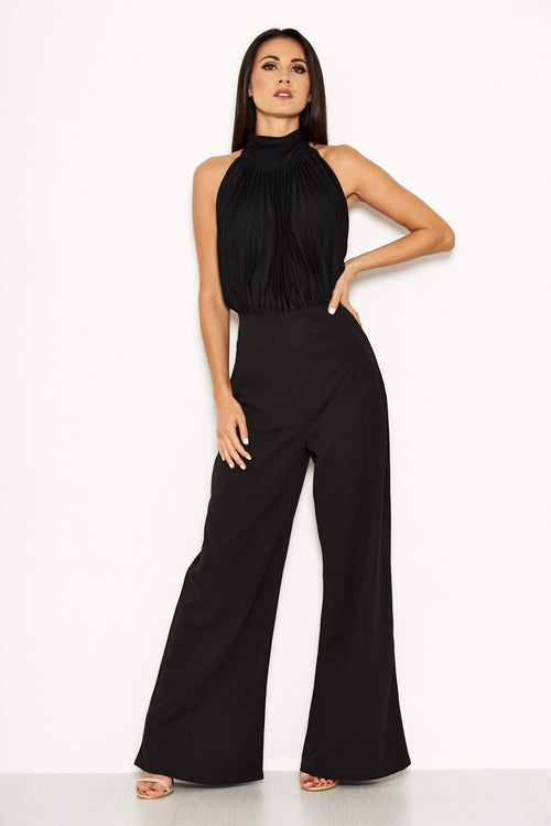Black High Neck Backless Jumpsuit