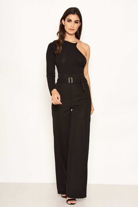 Black Flared High Waisted Trousers
