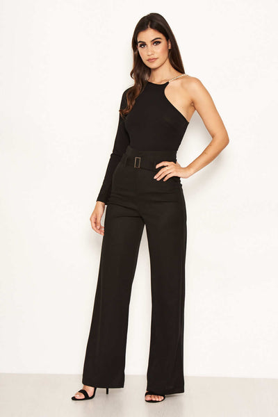 Black High Waist Wide Leg Trousers