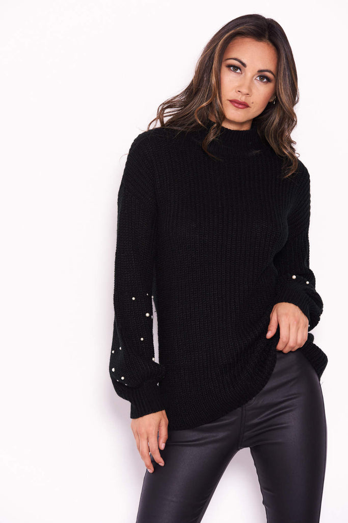 Black Jumper With Pearl Detail