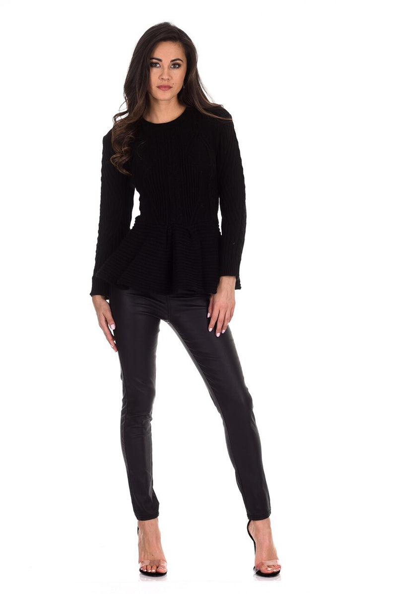 Black Peplum Knitted Jumper