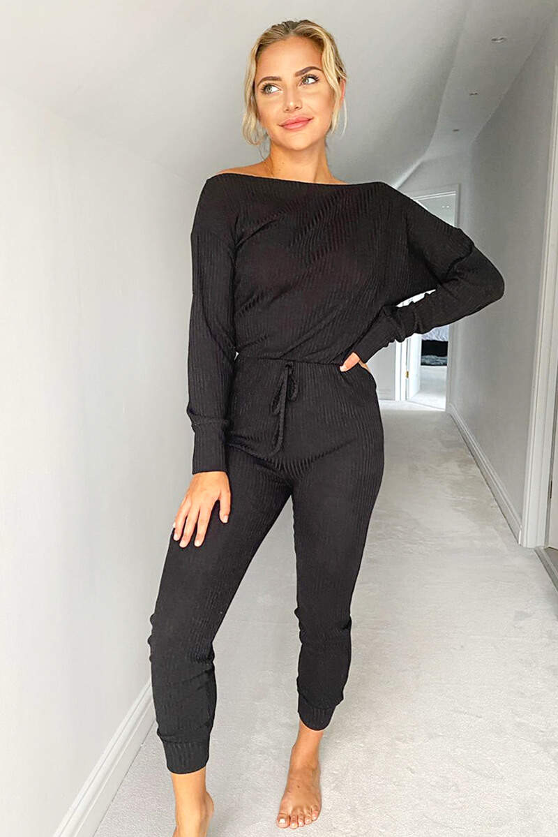 Black Knitted Long Sleeve Jumpsuit