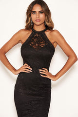 Black Lace Bodycon Dress With Crochet Detailing