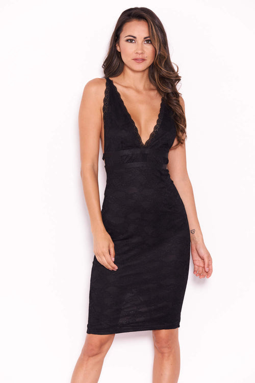 Black Lace V Neckline Bodycon Dress