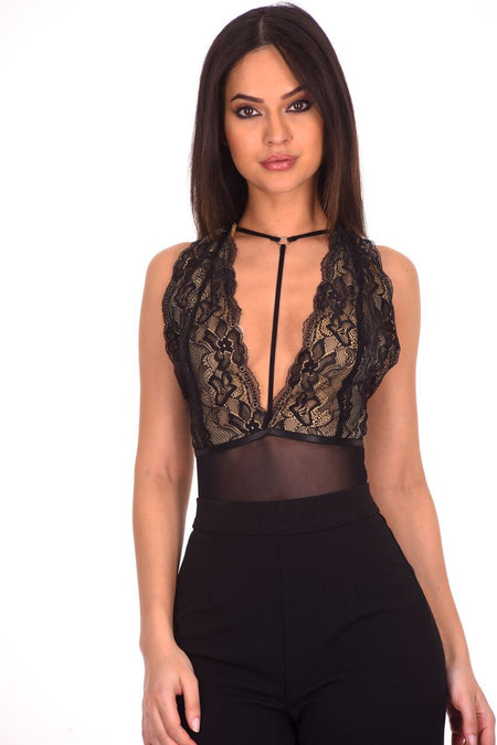 Black Lace Harness Bodysuit