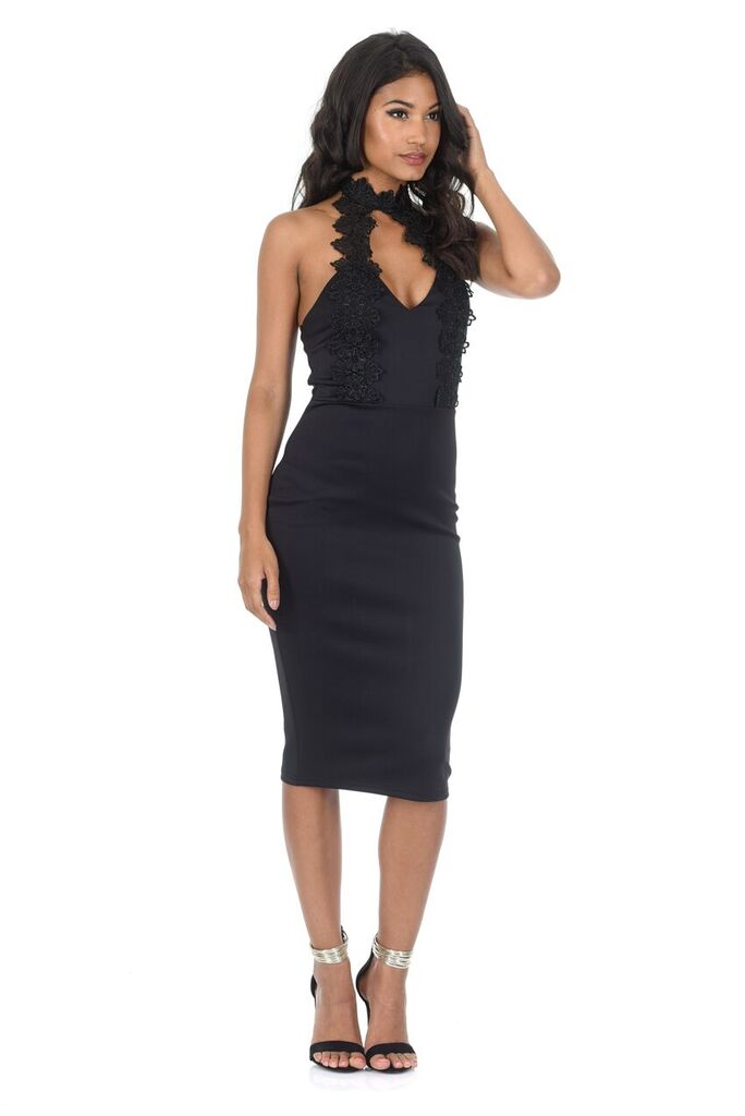 Black Lace Choker Midi Dress