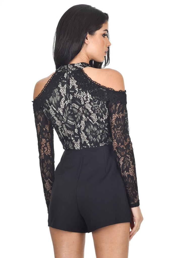 Black Lace Cold Shoulder Playsuit