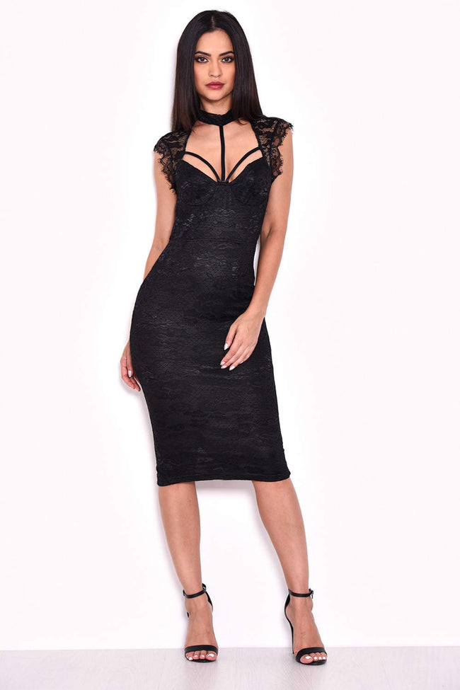 Black Lace Harness Detailing Midi Dress