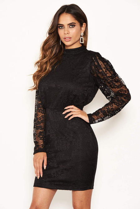 Navy Lace Fishtail Midi Dress