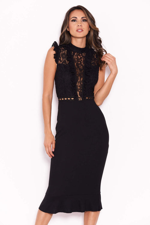 Black Lace Ruffle Hem And Sleeve Dress