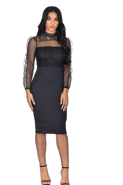 Black Lace Sheer Sleeve Midi Dress