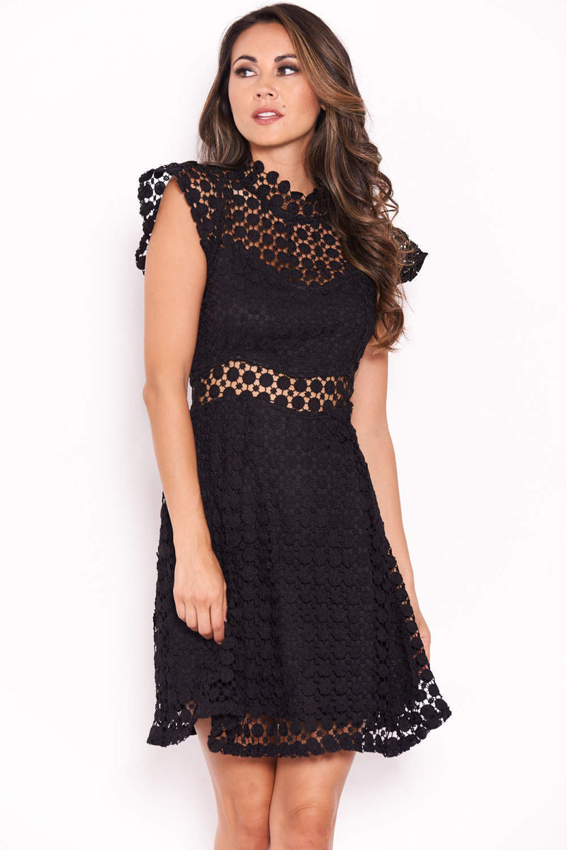 Black Lace Skater Mini Dress