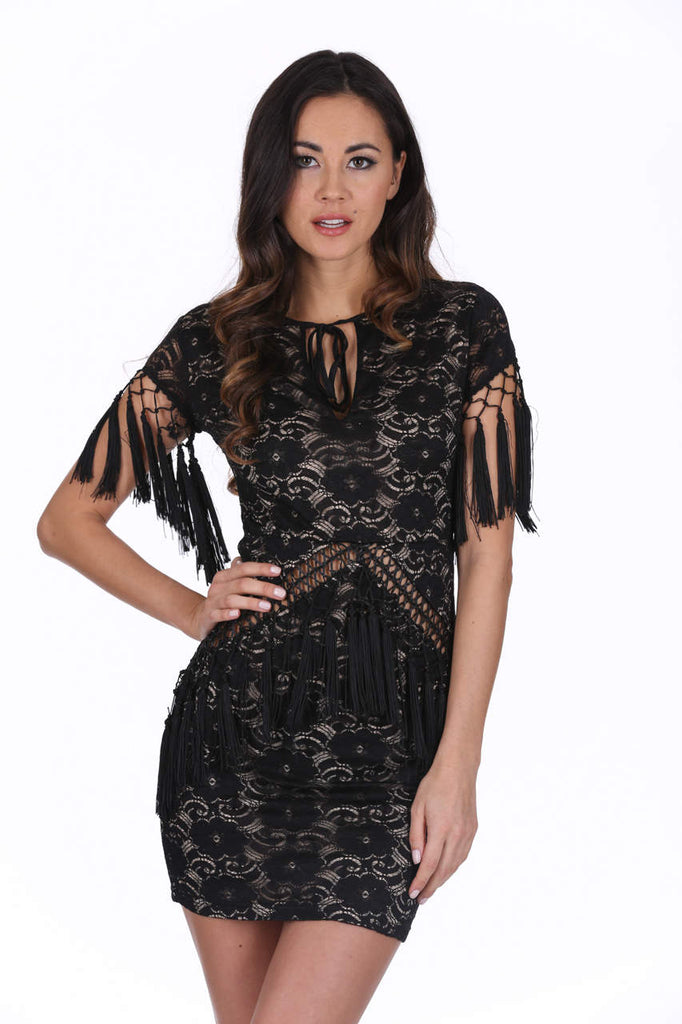 Black Lace Tassel Dress