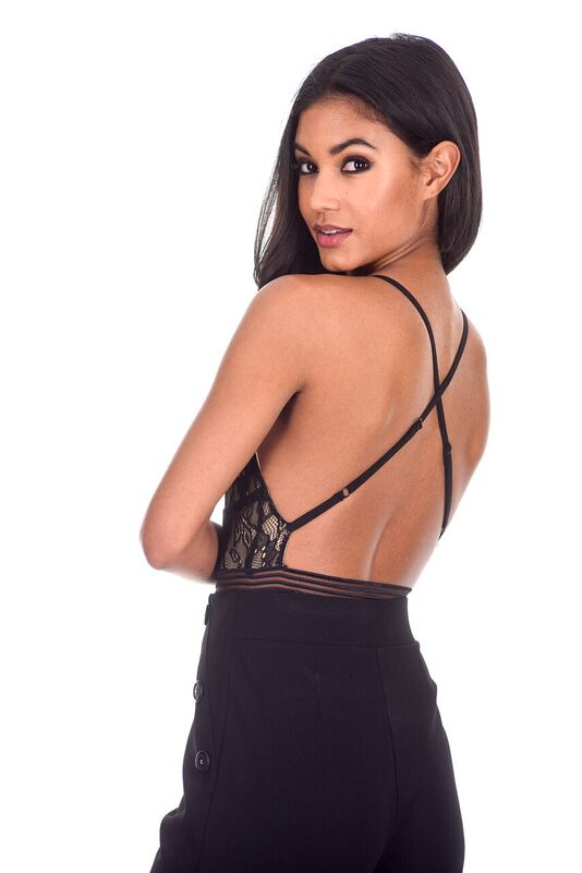Black Lace and Mesh Bodysuit
