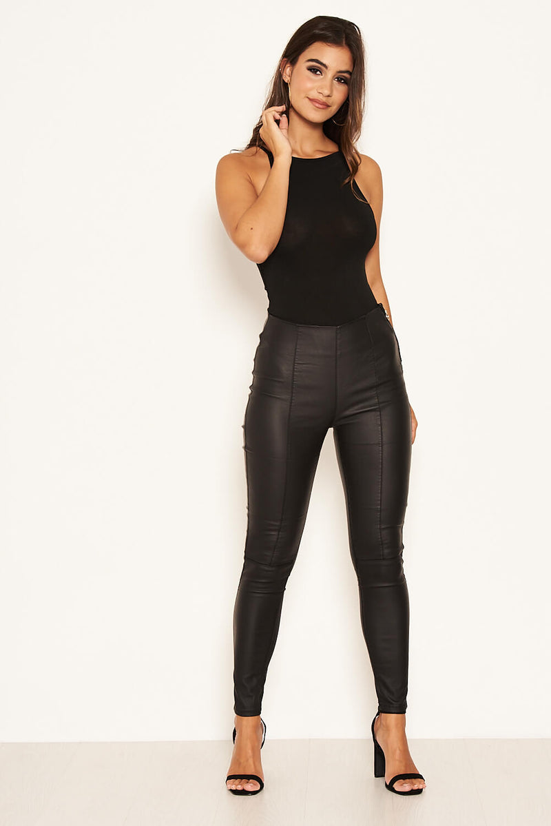 Black Faux Leather Leggings With Side Zip Detail
