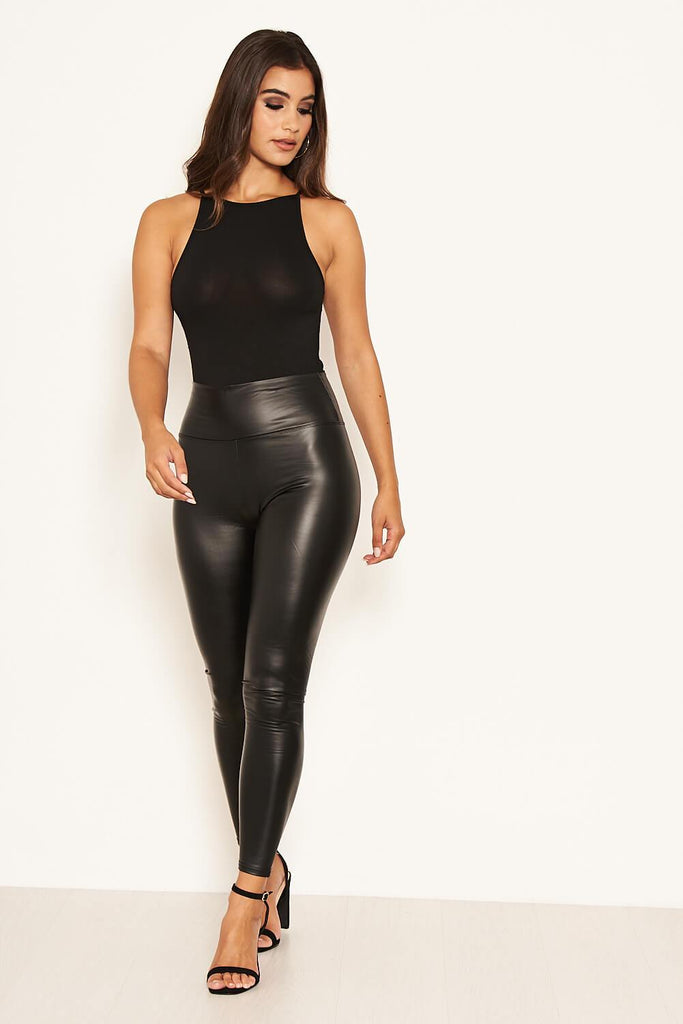 Black Leather Look Leggings