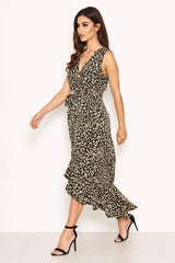 Black Leopard Print Midi Dress