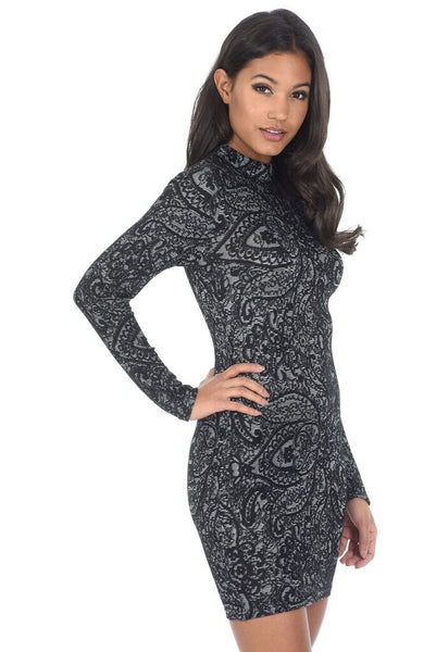 Black Long Sleeved High Neck Bodycon dress