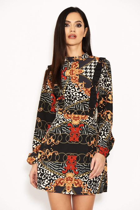 Black Chain Print Bat Wing Dress