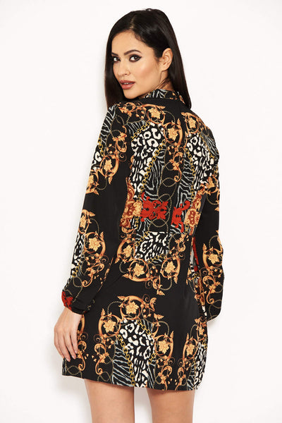 Black Long Sleeve Printed Day Dress