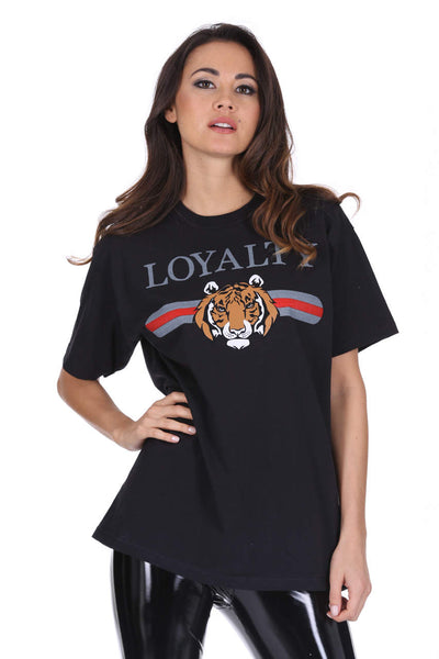 Black Loyalty Tiger Print T-Shirt