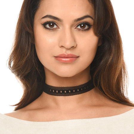 Black Mesh Detail Choker Necklace