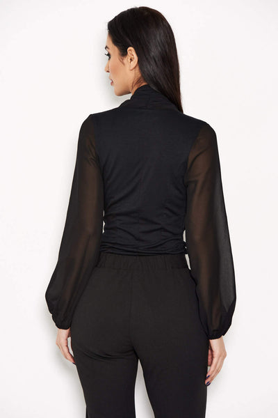 Black Mesh Detail Sleeved Bodysuit