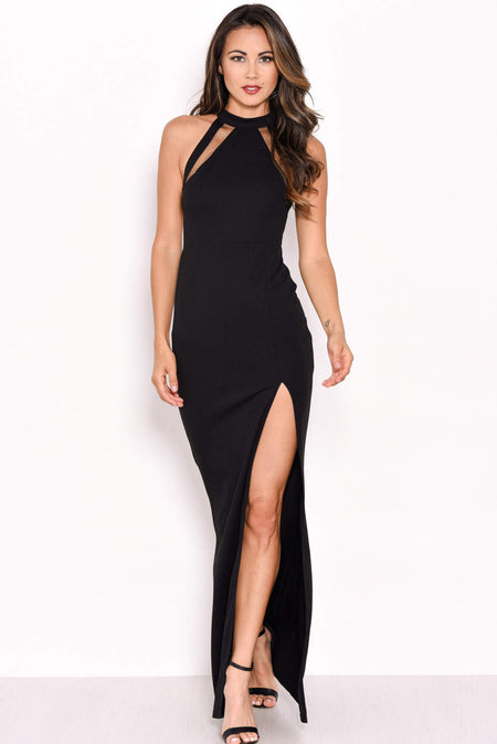 Black One Shoulder Asymmetric Dress