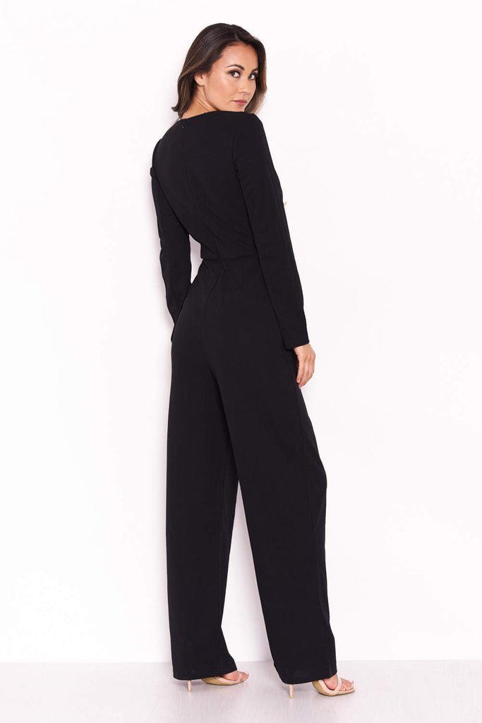 Black Military Wrap Style V Neck Jumpsuit