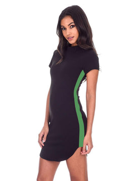 Black Mini Dress With Green Panel Detail